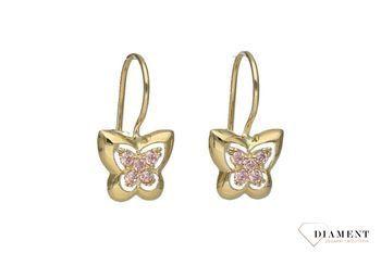 Złote Kolczyki Dla Dziewczynki Motylki Kl8223a Www Zegarki Diament Pl