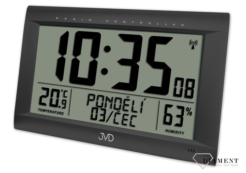 Zegar cyfrowy z wyświetlaczem i alarmem, sterowany radiem czarny JVD RB9075.1 - www.zegarki-diament.pl